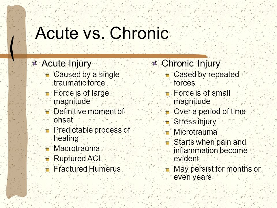 Acute vs. Chronic Acute Injury Chronic Injury