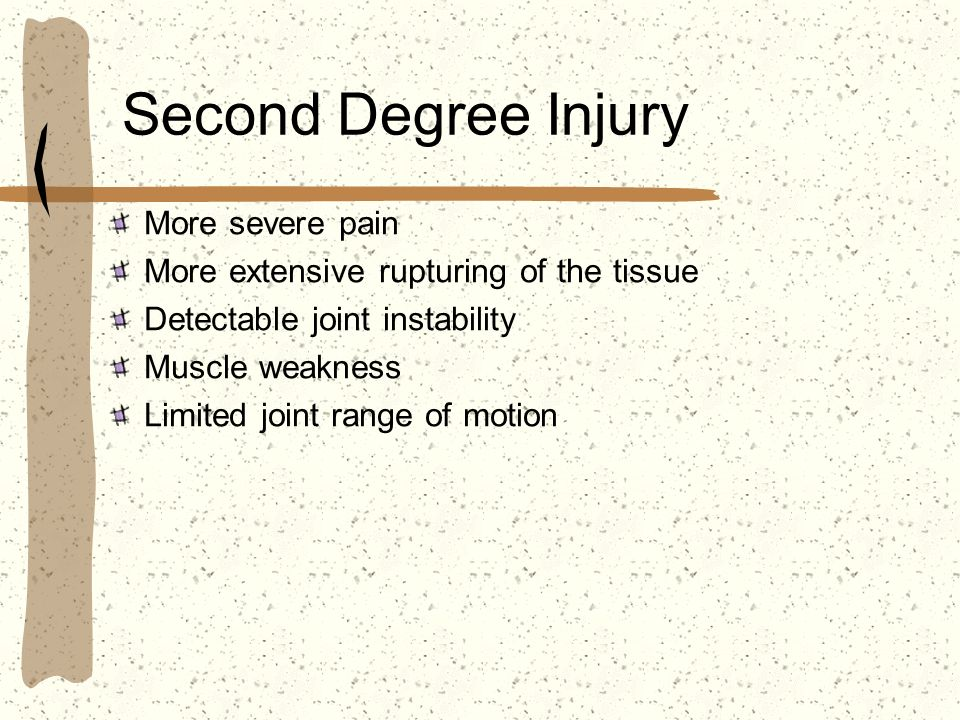 Second Degree Injury More severe pain