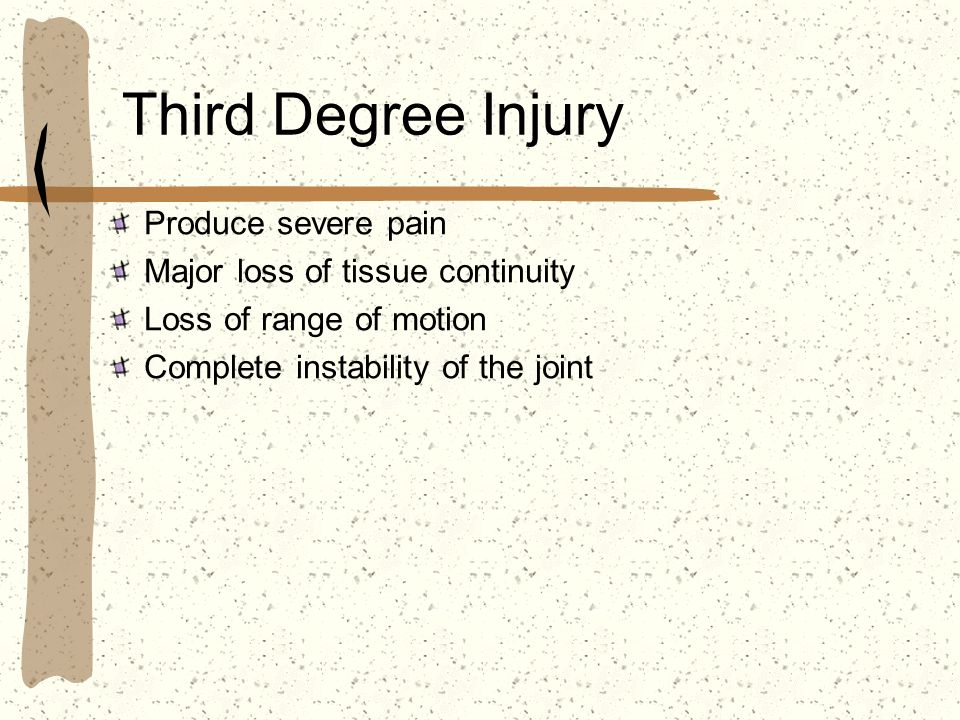 Third Degree Injury Produce severe pain