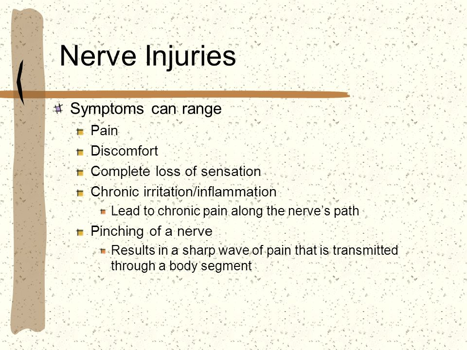 Nerve Injuries Symptoms can range Pain Discomfort