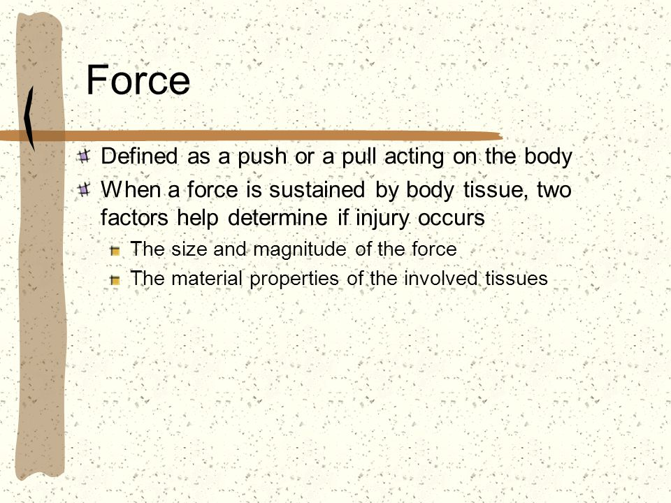 Force Defined as a push or a pull acting on the body