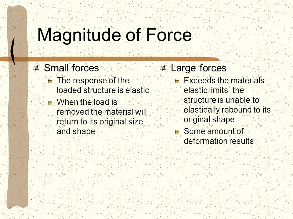 Magnitude of Force Small forces Large forces