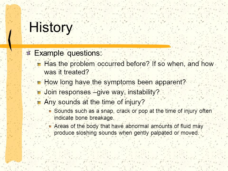 History Example questions: