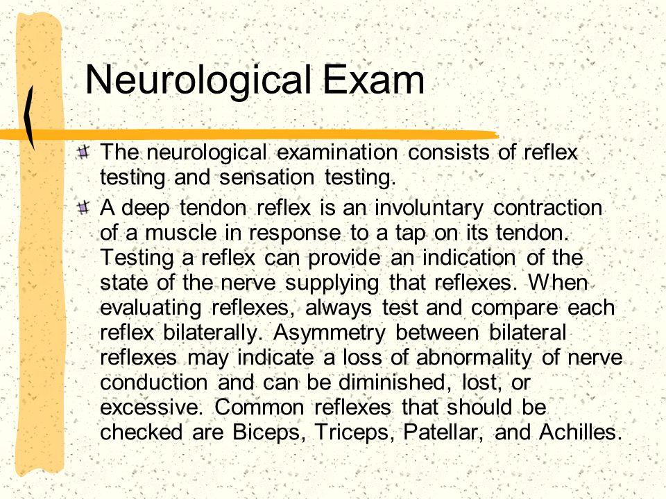 Neurological Exam The neurological examination consists of reflex testing and sensation testing.