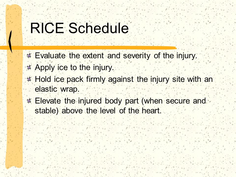RICE Schedule Evaluate the extent and severity of the injury.