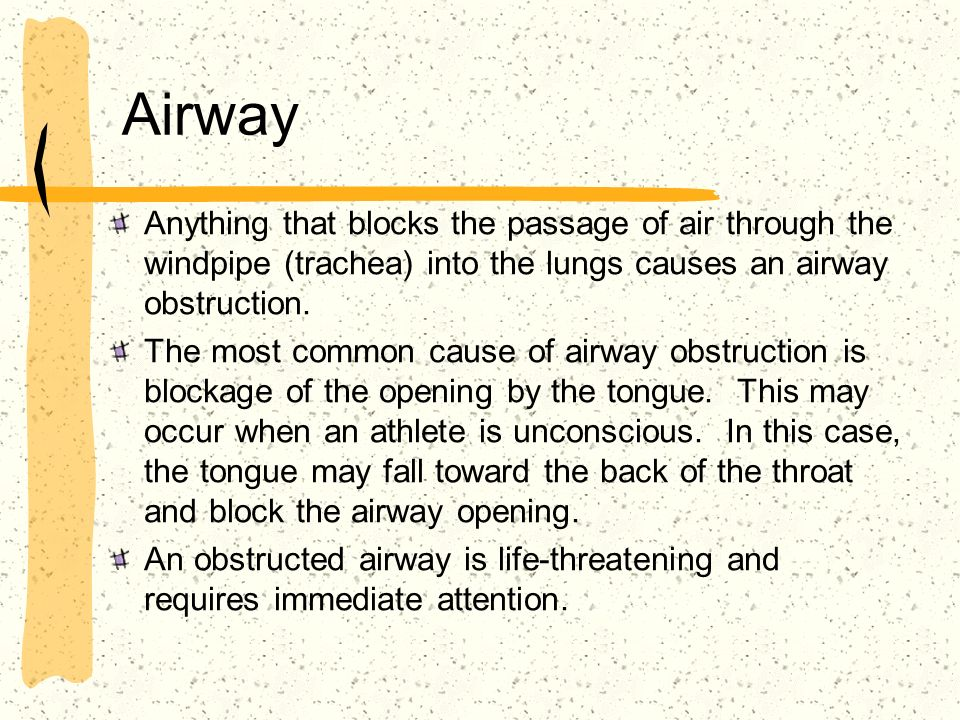 Airway Anything that blocks the passage of air through the windpipe (trachea) into the lungs causes an airway obstruction.