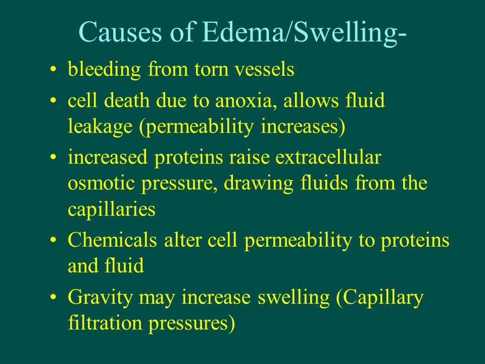 Causes of Edema/Swelling-