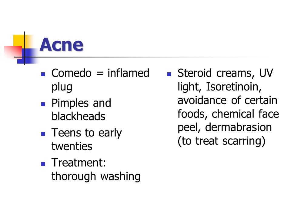 Acne Comedo = inflamed plug Pimples and blackheads
