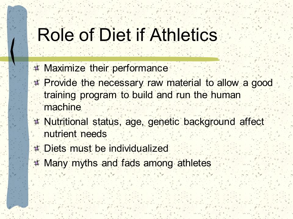 Role of Diet if Athletics