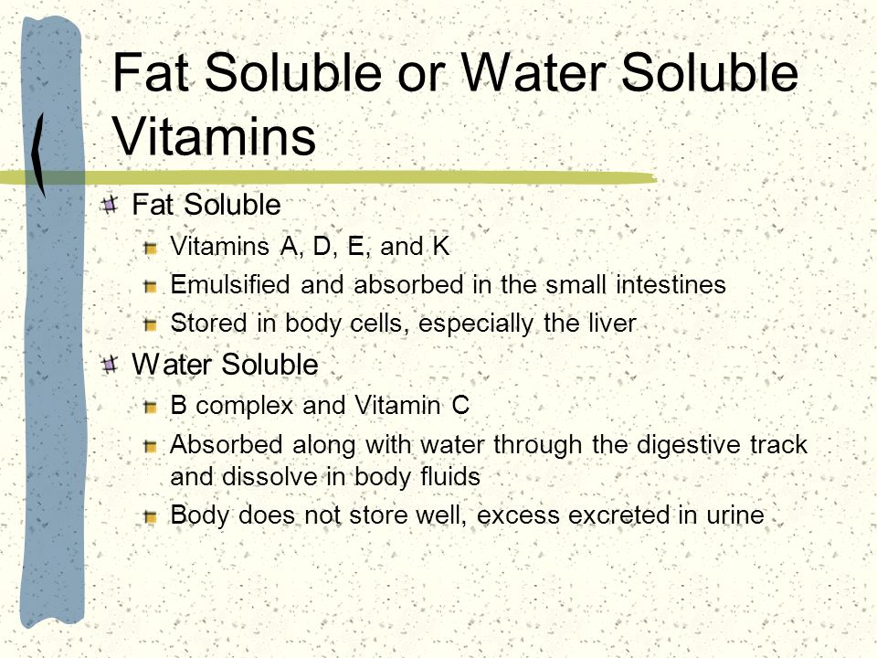 Fat Soluble or Water Soluble Vitamins