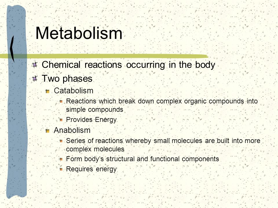 Metabolism Chemical reactions occurring in the body Two phases