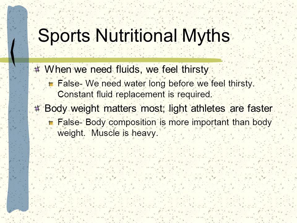 Sports Nutritional Myths