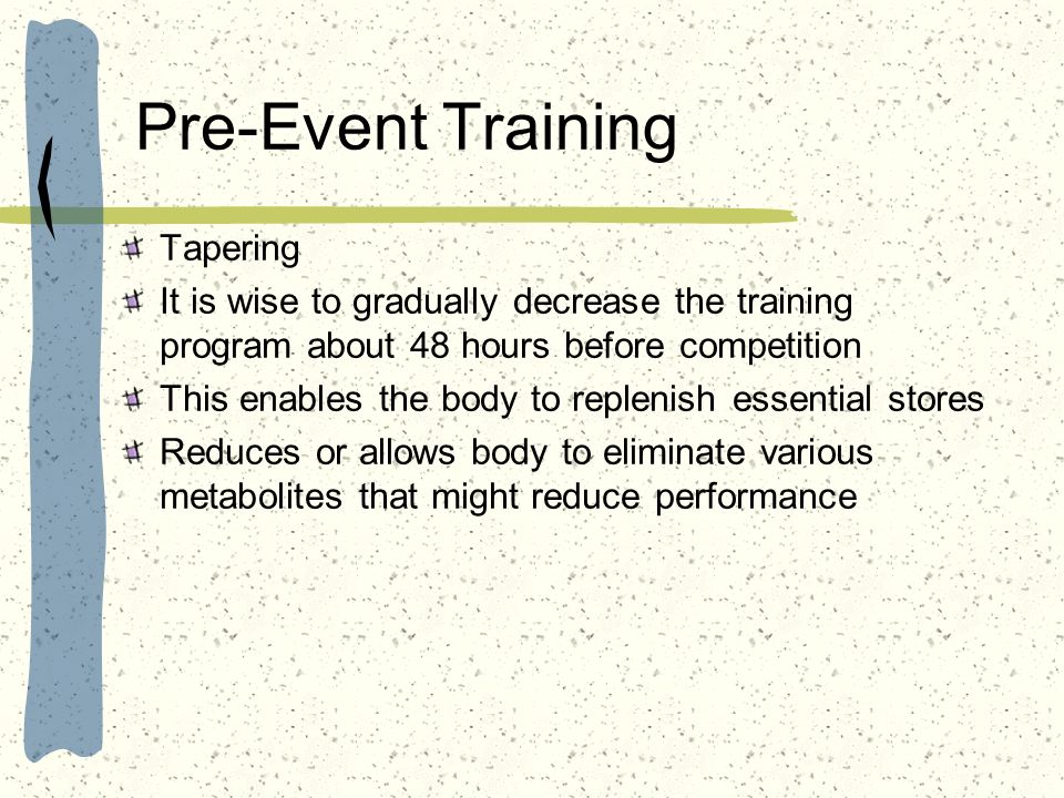 Pre-Event Training Tapering