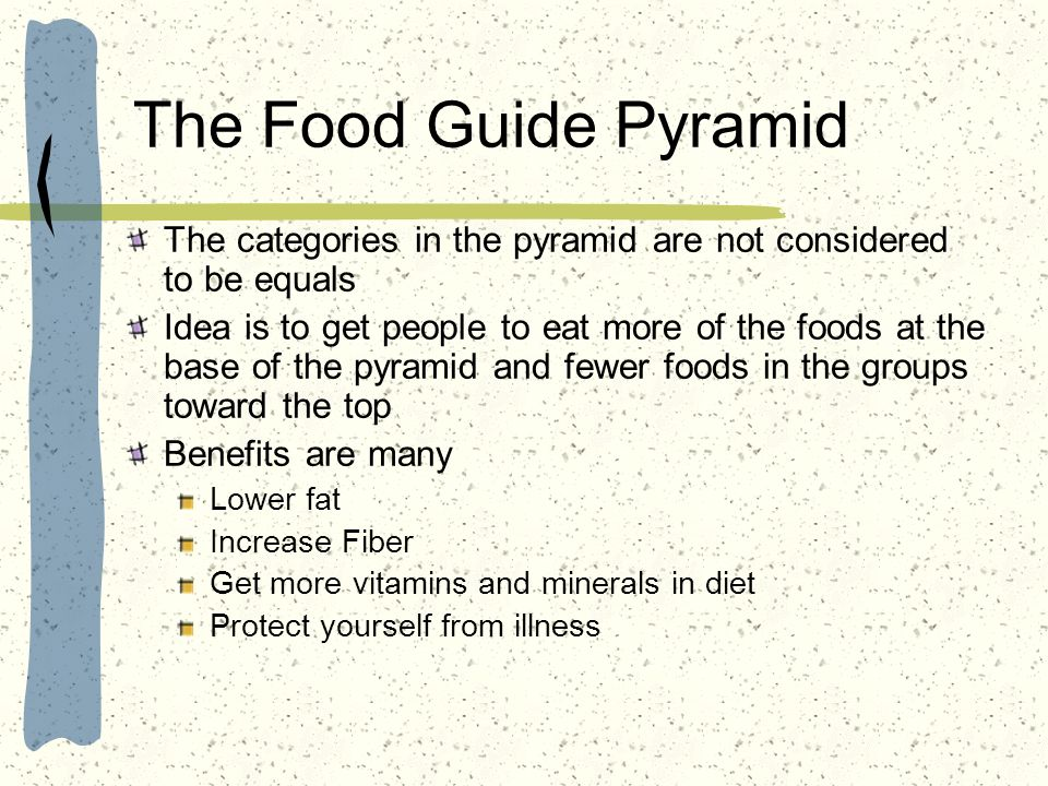 The Food Guide Pyramid The categories in the pyramid are not considered to be equals.