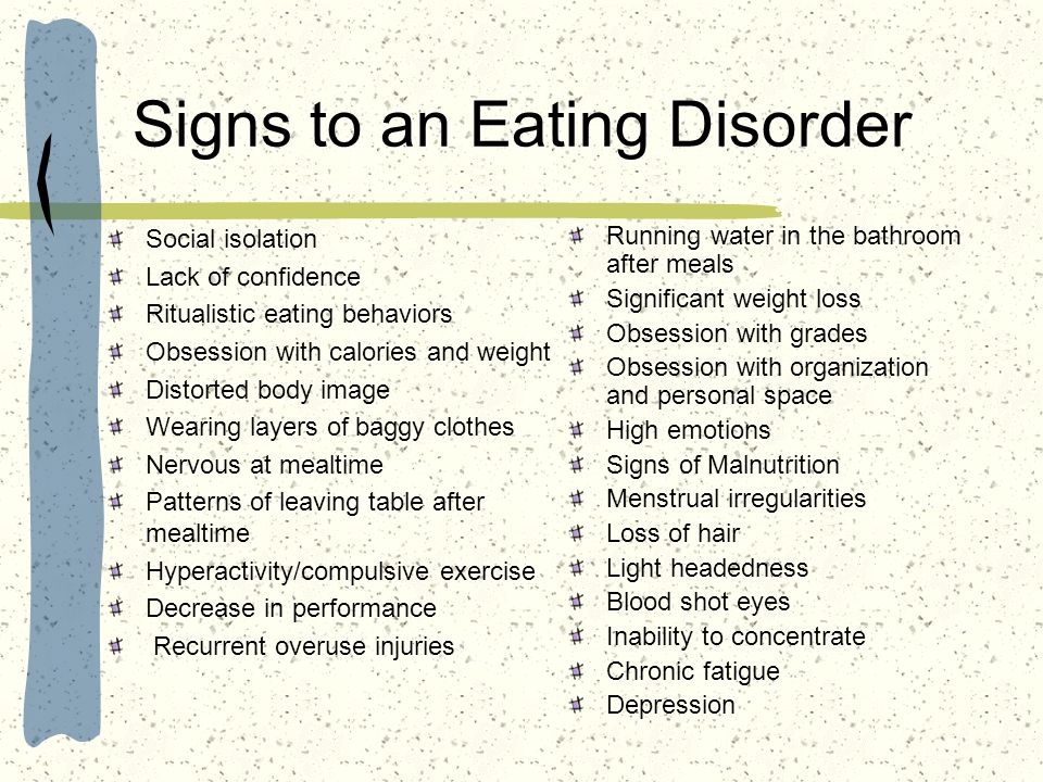 Signs to an Eating Disorder
