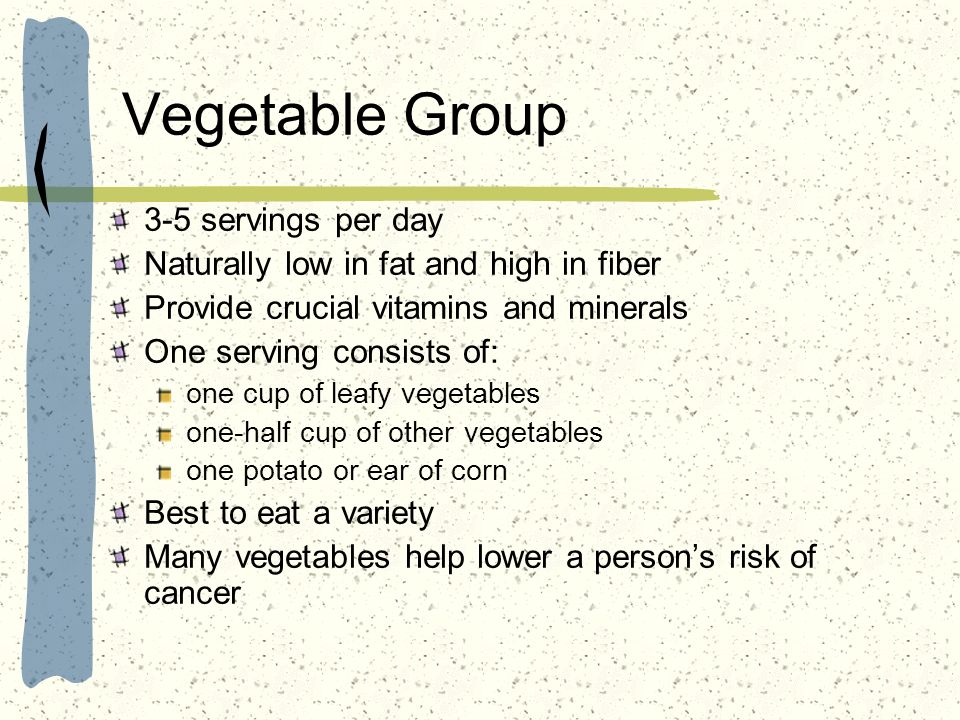 Vegetable Group 3-5 servings per day