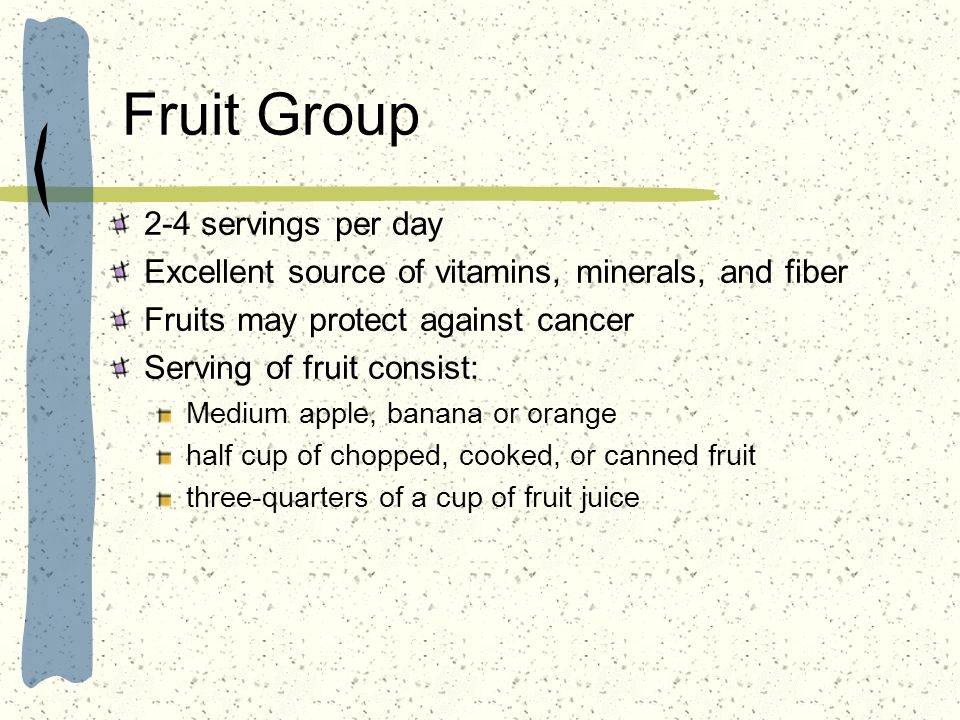 Fruit Group 2-4 servings per day