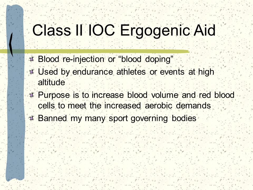 Class II IOC Ergogenic Aid