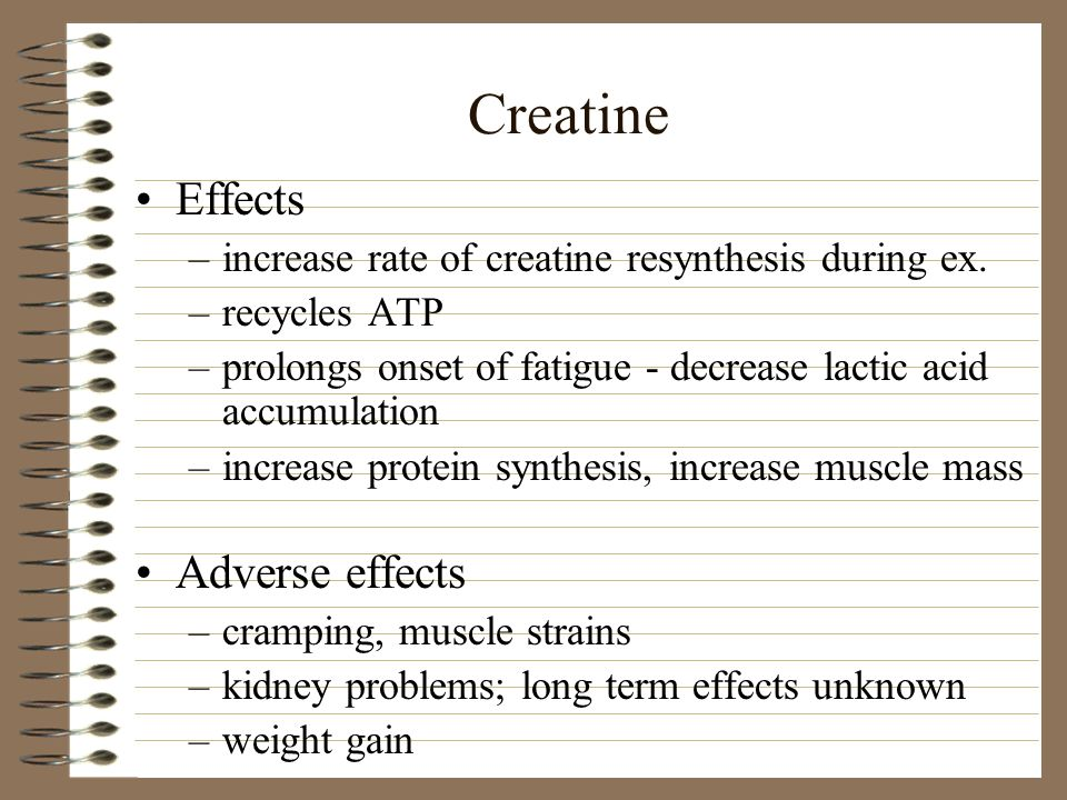 Creatine Effects Adverse effects