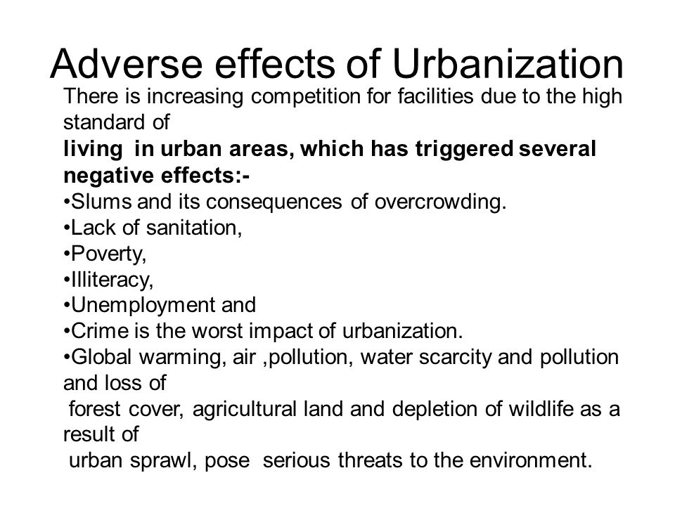 impact of urbanisation Social and economic consequences of urbanization in developing countries provides an economic framework for rural-urban migration  environmental effects of .