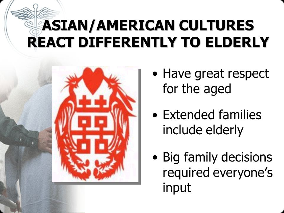 ASIAN/AMERICAN CULTURES REACT DIFFERENTLY TO ELDERLY