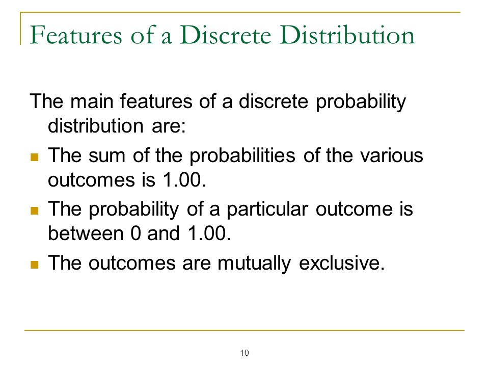 Features of a Discrete Distribution