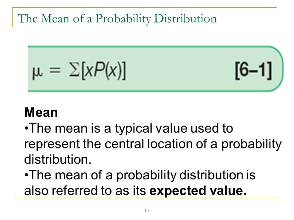 The Mean of a Probability Distribution
