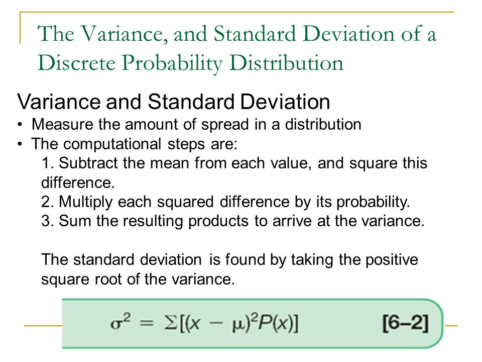 The Variance, and Standard Deviation of a Discrete Probability Distribution