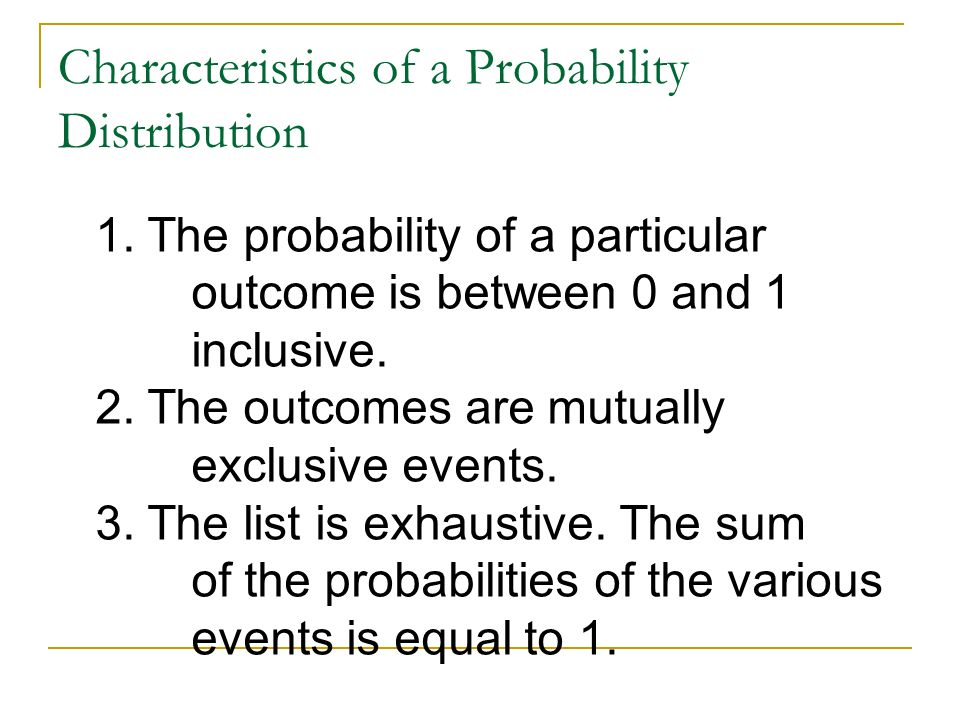 Characteristics of a Probability Distribution