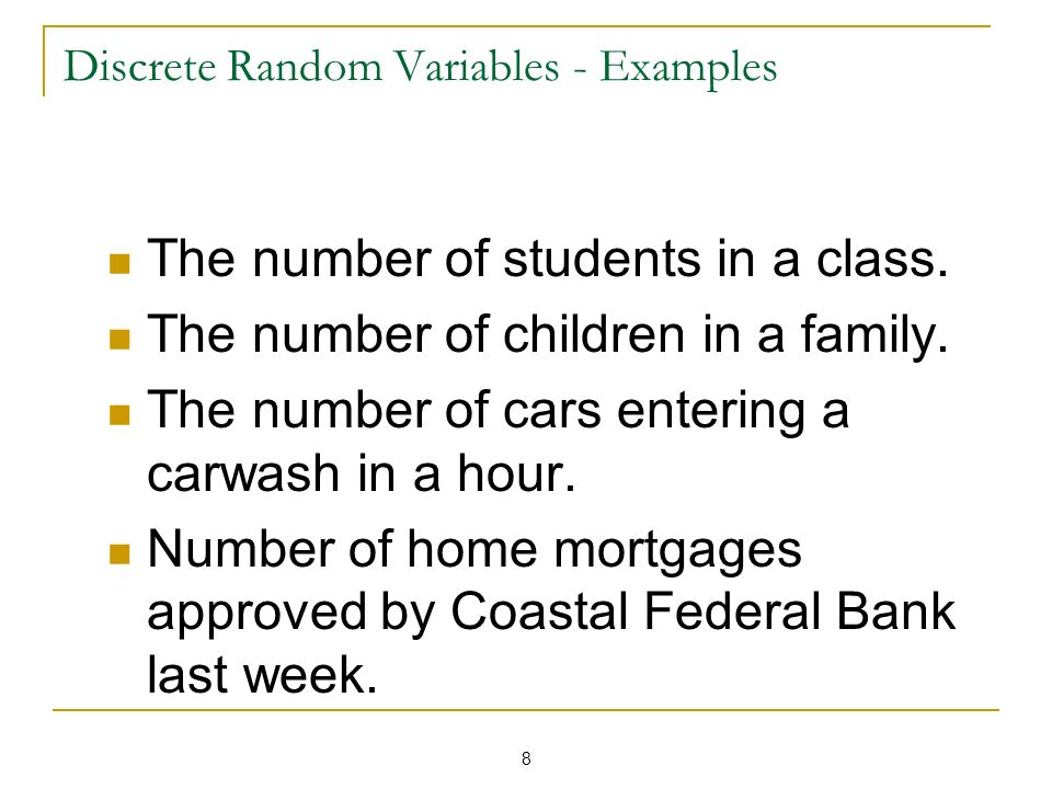 Discrete Random Variables - Examples