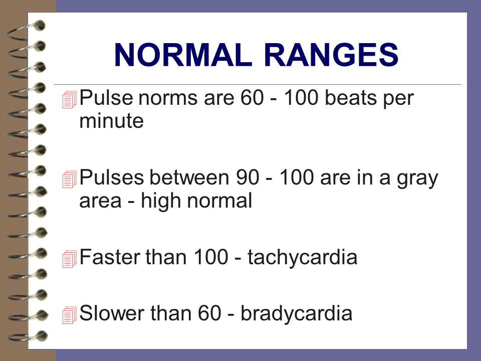 NORMAL RANGES Pulse norms are 60 - 100 beats per minute
