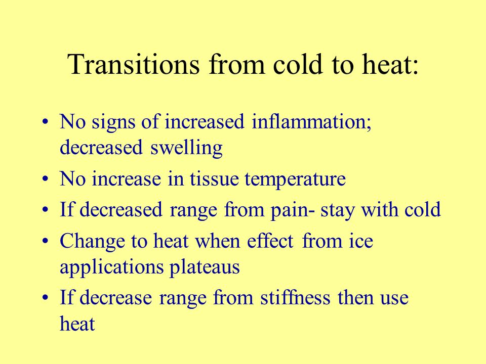 Transitions from cold to heat: