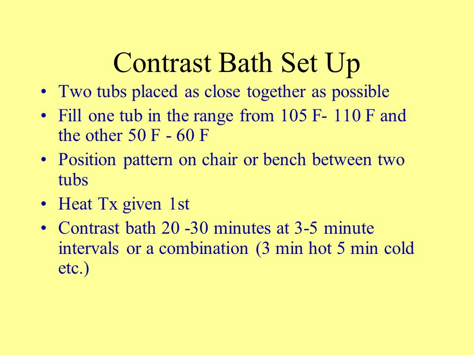 Contrast Bath Set Up Two tubs placed as close together as possible
