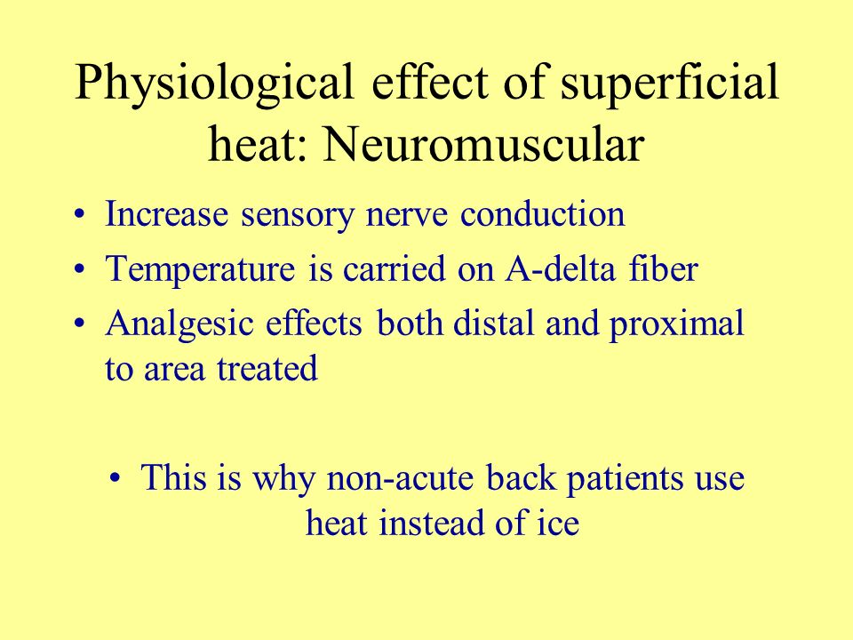 Physiological effect of superficial heat: Neuromuscular