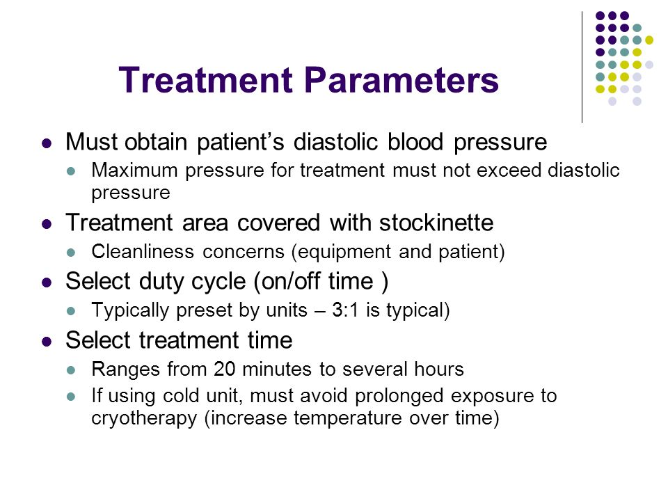 Treatment Parameters Must obtain patient's diastolic blood pressure