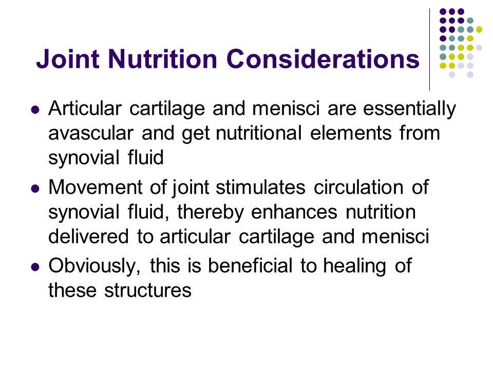 Joint Nutrition Considerations
