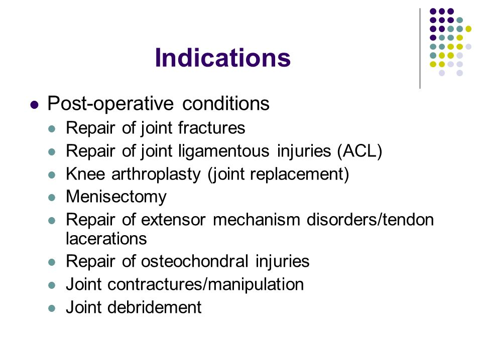 Indications Post-operative conditions Repair of joint fractures