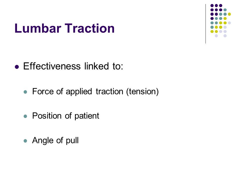 Lumbar Traction Effectiveness linked to: