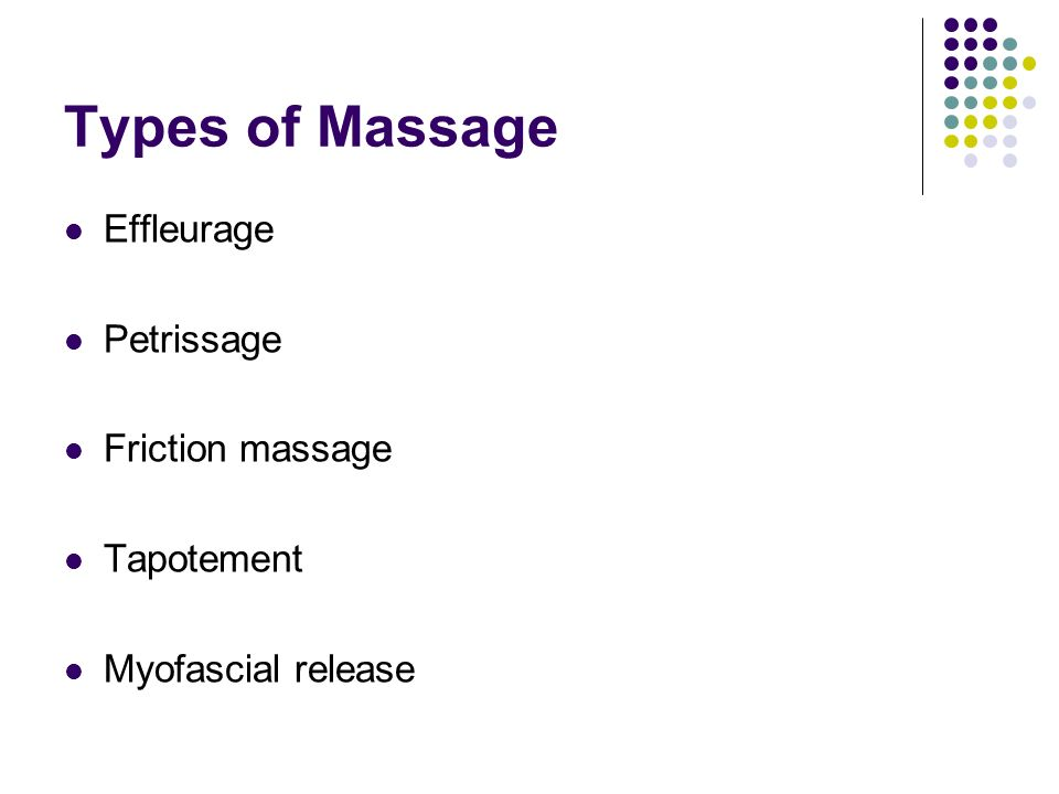 Types of Massage Effleurage Petrissage Friction massage Tapotement