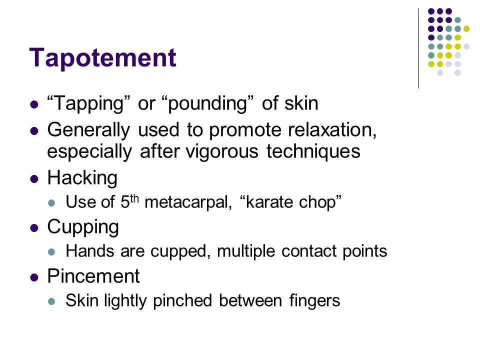 Tapotement Tapping or pounding of skin