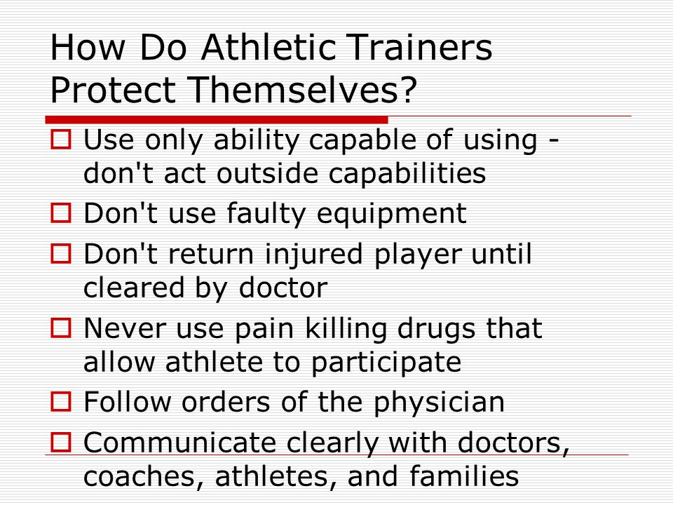 How Do Athletic Trainers Protect Themselves