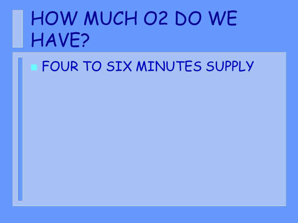 HOW MUCH O2 DO WE HAVE FOUR TO SIX MINUTES SUPPLY