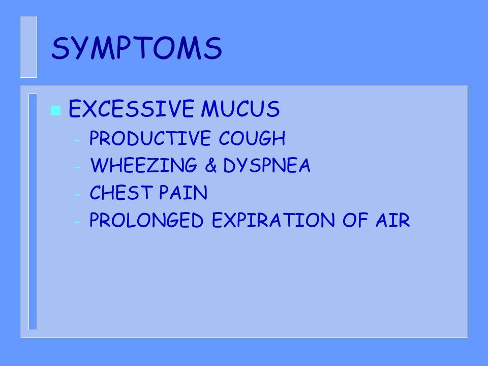 SYMPTOMS EXCESSIVE MUCUS PRODUCTIVE COUGH WHEEZING & DYSPNEA