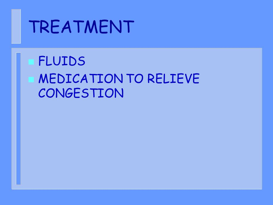 TREATMENT FLUIDS MEDICATION TO RELIEVE CONGESTION