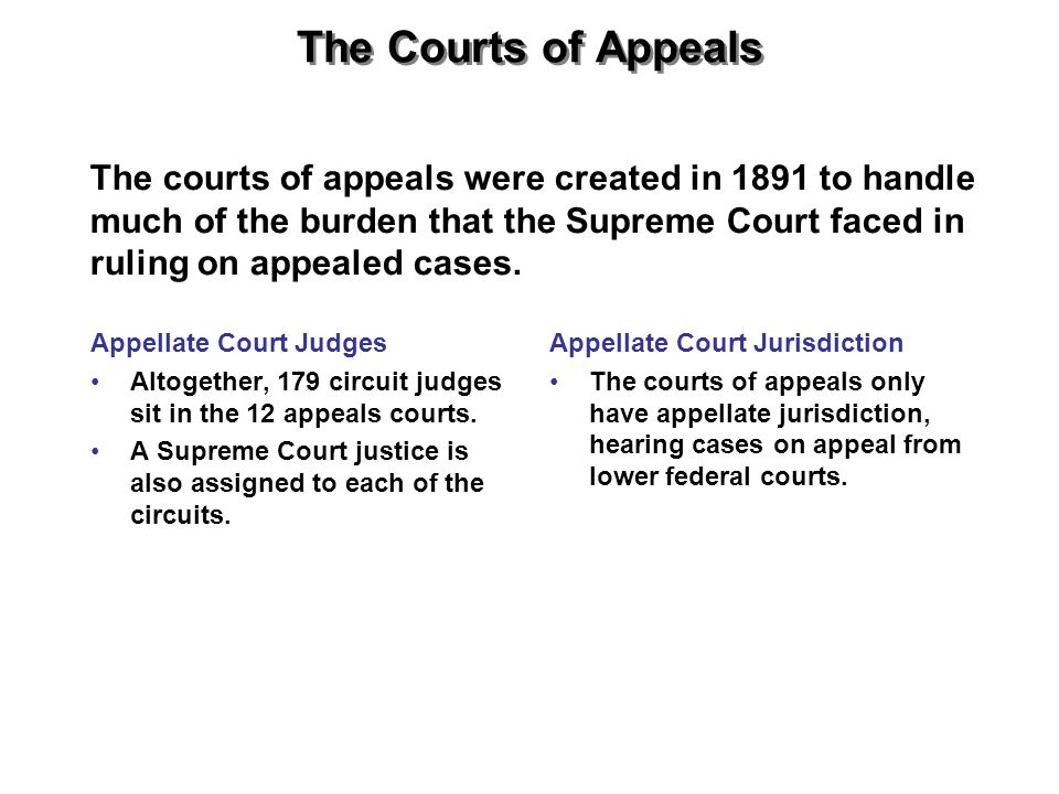 The Courts of Appeals