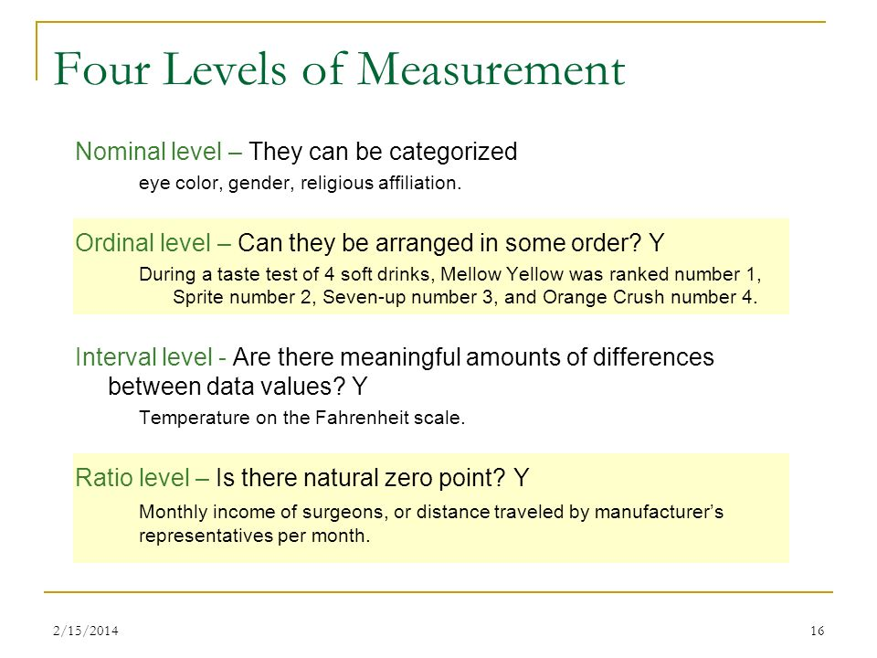 the four levels of measurements We gather knowledge through observation and when we collect enough  observations we form concepts the process of connecting.