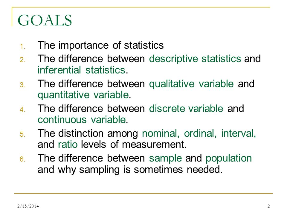 GOALS The importance of statistics