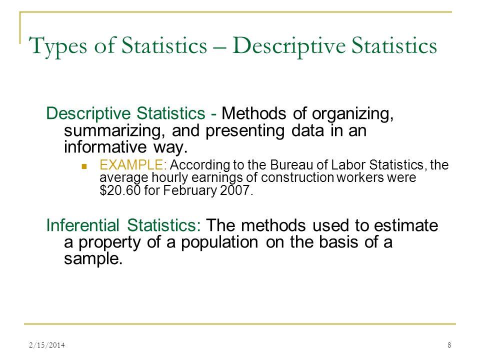 Types of Statistics – Descriptive Statistics