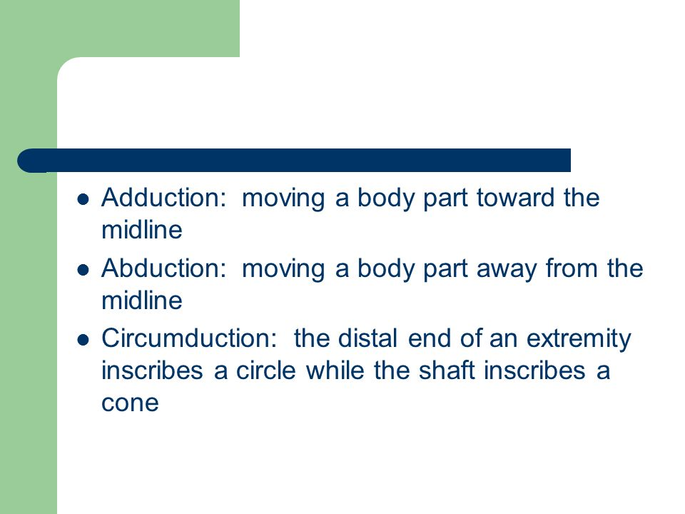 Adduction: moving a body part toward the midline