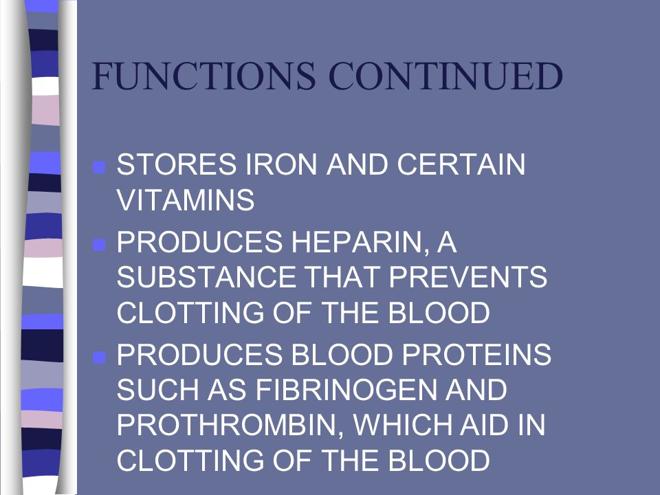 FUNCTIONS CONTINUED STORES IRON AND CERTAIN VITAMINS